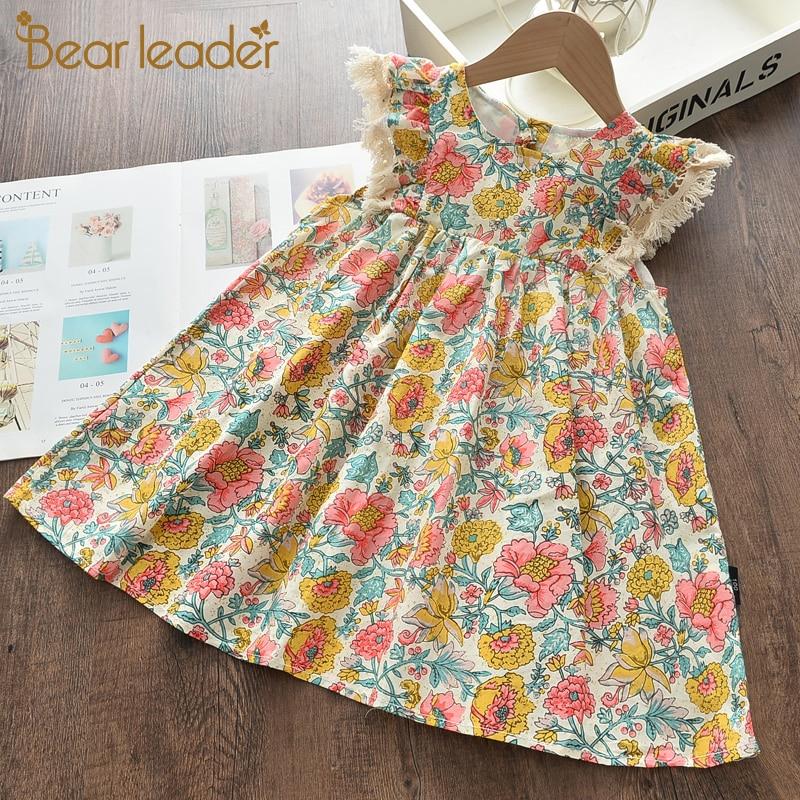 Bear Leader Girls Floral Dresses 2021 New Fashion Sweet Kids Flowers Costumes Children Sleeveless Vestidos Toddler Baby Clothing