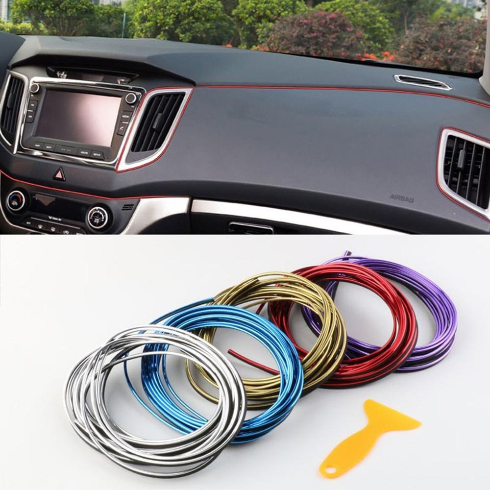 5 metros de iluminación Interior del coche Auto LED tira Garland EL cable línea de tubo Flexible de neón luces Auto decorativas