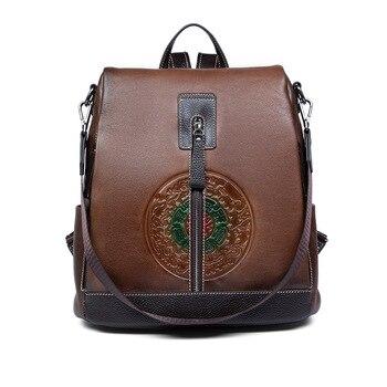 Nesitu Highend Fashion Vintage Coffee Brown Grey A4 100% Genuine Leather Women Backpack Female Girl Cowhide Shoulder Bag M3622