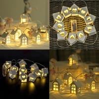 10led20led garland european style wood love heart house string light 1 5m3m room decor wedding party fairy lamp