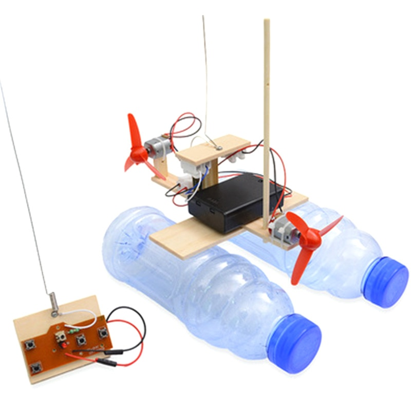 Kids RC Airboat Model Science Experiment Puzzle Assembly Educational Toy For Students Boy Wireless R
