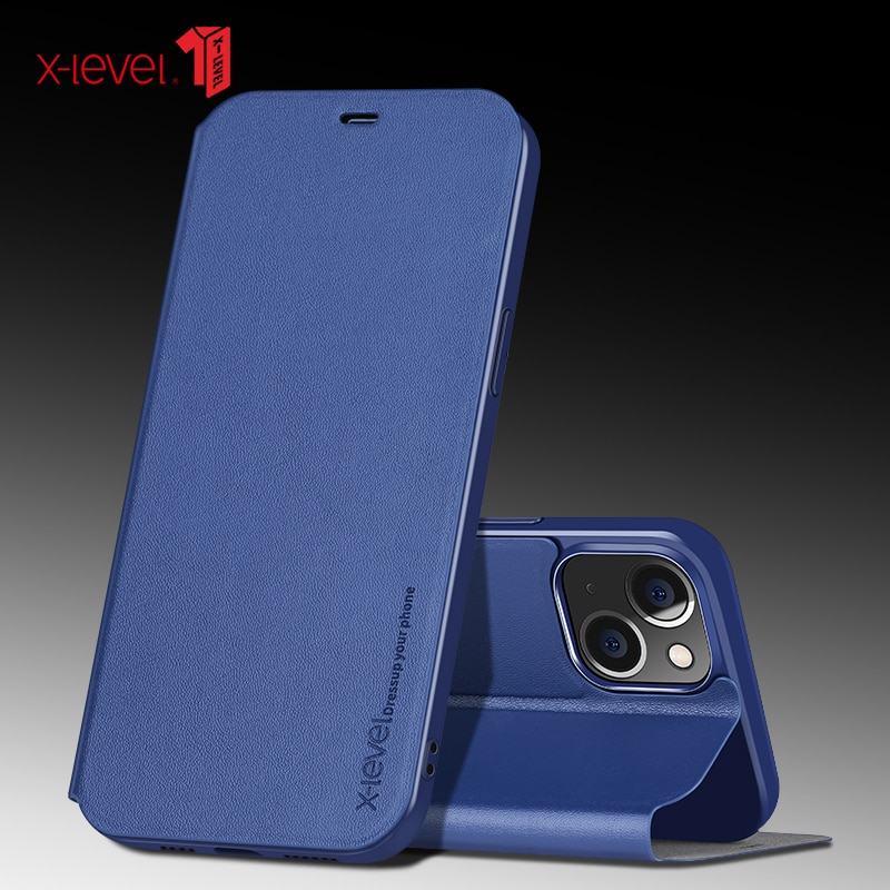 X-level Luxury Original Ultra Thin Slim Flip Case Leather Tpu Book Cover For Iphone 13 12 11 Pro Max