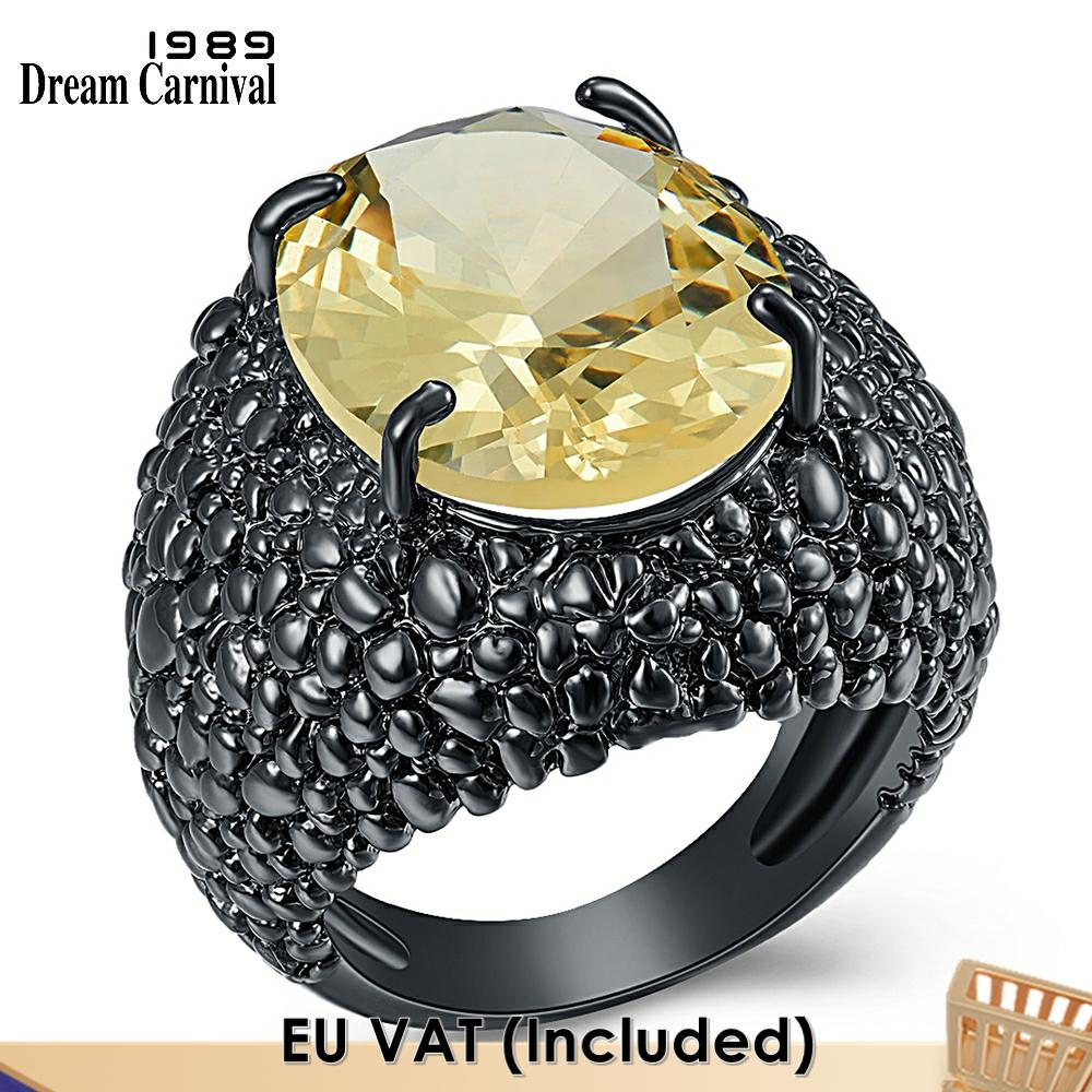 DreamCarnival-خاتم خطوبة أسود كبير من الزركونيا المكعبة ، مجوهرات خطوبة رائعة ، موضة 1989 ، WA11870 ، 2020