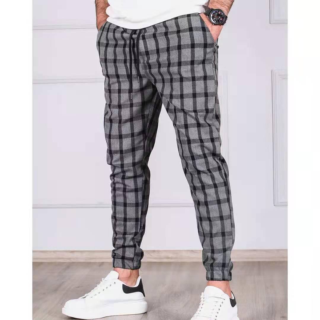 2021 New Fashion Plaid Pants Mens Skinny Pencil Pants Slim Mid Waist Drawstring Trouser Men Loose Casual Jogger Long Pants