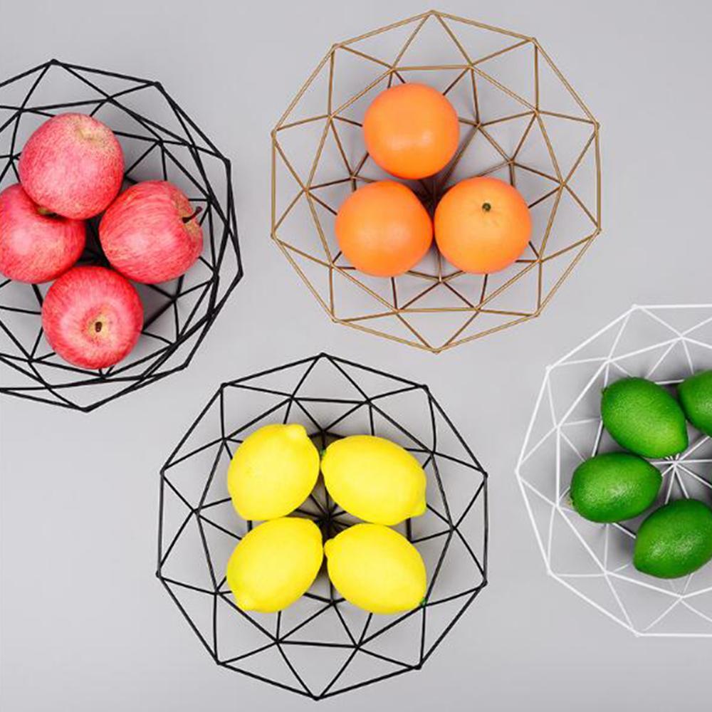 Metal fio cesta de armazenamento de frutas lanche cesta de alimentos vegetais tigela de metal frutas placas cozinha recipiente de armazenamento desktop display