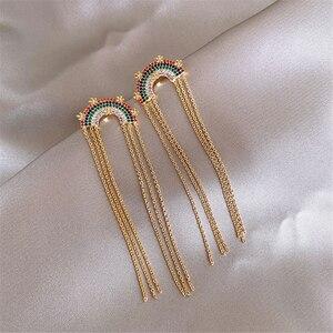 Earrings Rainbow Tassel Drop Earrings Jewellery Cute Girl Elegance Women's Accessories Aesthetic Lady Party School Evening Dress