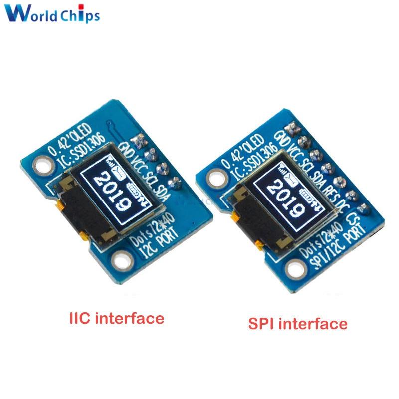 Diymore 0,42 дюймовый OLED дисплей ЖК-модуль 72*40 OLED модуль IIC/SPI интерфейс Белый ЖК-дисплей модуль 16 Pin SSD1306
