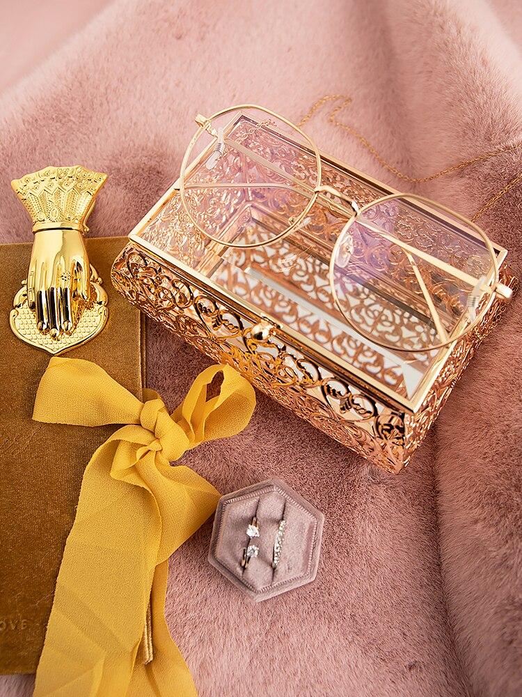 الشمال الفاخرة منحوتة الذهبي صندوق تخزين وعاء من الزجاج خمر الزفاف ديكور حلقة قلادة أساور أقراط صناديق المنظم