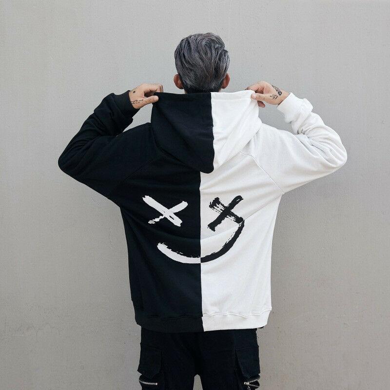 Unisex Hoodies Camisolas Homens Patchwork Sorriso Imprimir Moletom Com Capuz Hip Hop Streetwear Mulheres Dançando Capuz Pullover Camisolas Dos Homens De Dança