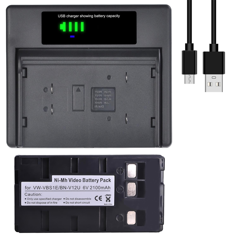 BN-V12U VW-VBS1E BN V12U VW VBS1E Battery + Charger with Type-C and USB Charger for JVC BN-V10U, BN-V11U, BN-V14U, BN V15 V18U