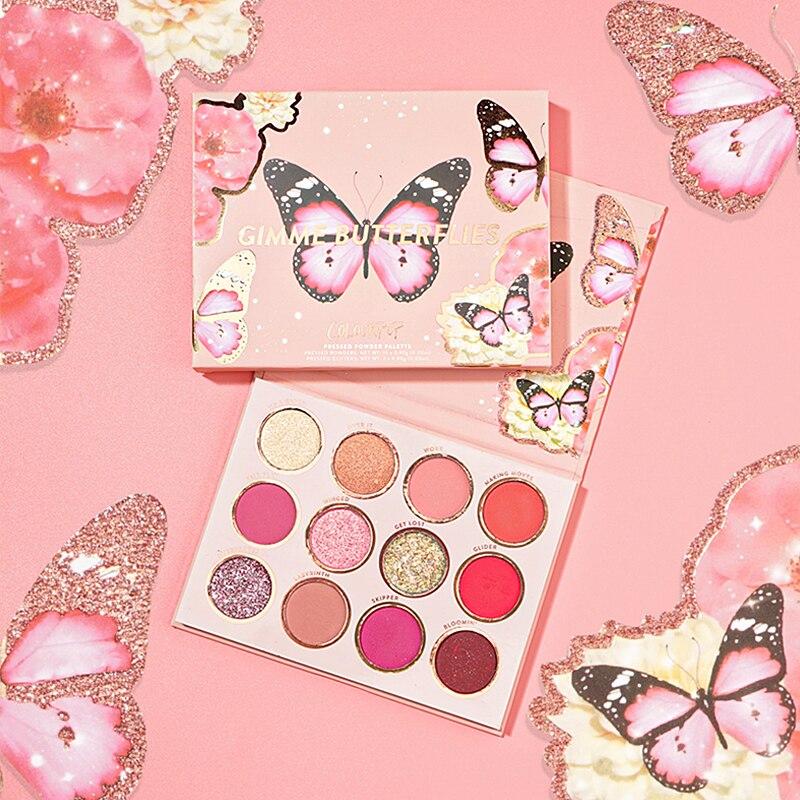 Colorpop glitter e fosco 12 cores me dar borboletas sombra paleta
