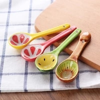 new creative hand painted fruit spoon ceramic spoon olive oil tank kitchen seasoning tools solid kitchen tools cute spoon