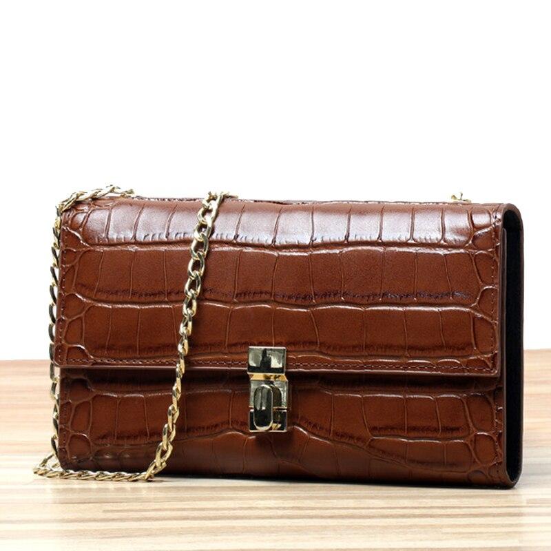 Fashion Women Loved Crocodile Leather Clutch Bags Genuine Leather Brown Handbag Fashion Ladies Evening Party Bag