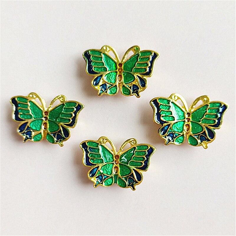 5 botones de aleación de mariposa unids/lote para DIY funda para teléfono móvil o accesorios de pelo botón de Metal accesorios para scrapbooking para manualidades