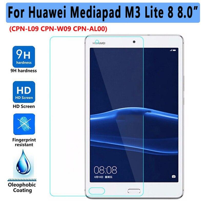 Vidrio Templado 9 H para Huawei MediaPad M3 Lite 8,0 Protector de pantalla tableta película protectora para M3 lite S 8,0 de vidrio guardia