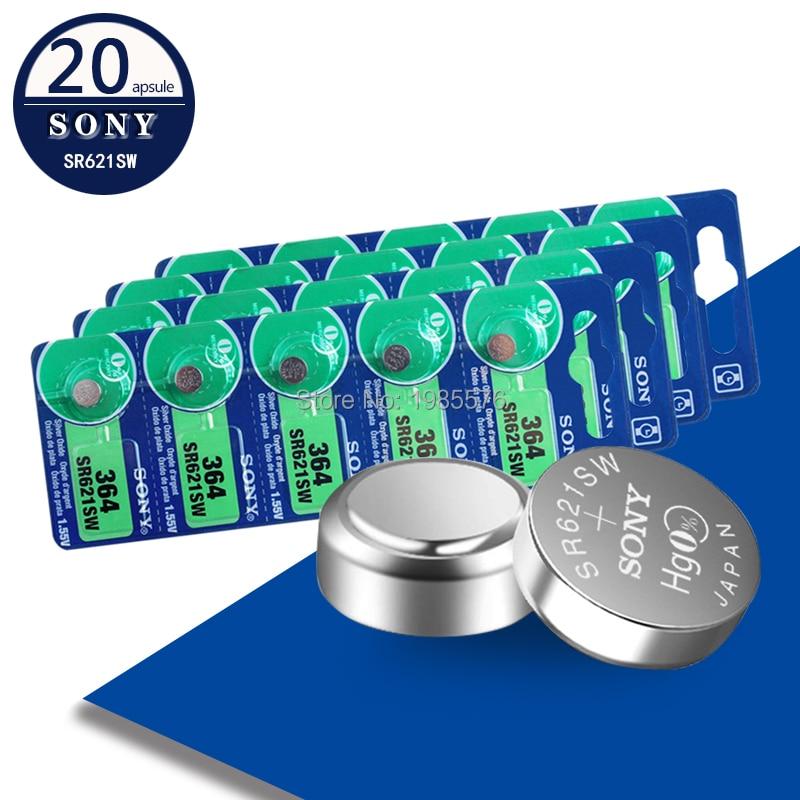 20 Uds. Para SONY 1,55 V AG1 LR621 364 164 531 SR621 SR621SW SR60 SP364 TR621 pilas de botón para reloj de juguete batería de monedas de celda remota