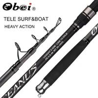 obei tele surf rod telescopic fishing rod tele carp carbon fiber spinning rod pesca 2 4 2 7 3 0m power 30 200g hard pole surf