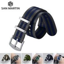 San Martin Watch Strap Nato Nylon Strap 20mm 22mm Universal Type Sports Troops Parachute Bag Watchba