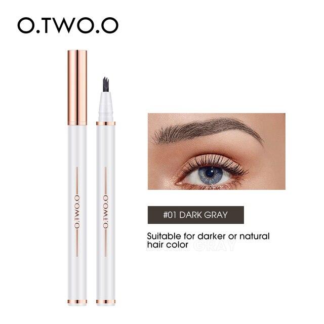 Ручка для татуажа бровей O.TWO.O, водостойкая карандаш для бровей с 3 наконечниками, стойкая косметика, натуральный темно-коричневый жидкий карандаш для бровей | Красота и здоровье | АлиЭкспресс
