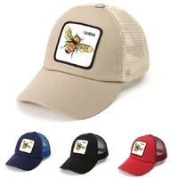 2021 baseball cap with bee embroidery patch snapback mesh casquatte gorras for women men outdoor casual visor hip hop caps