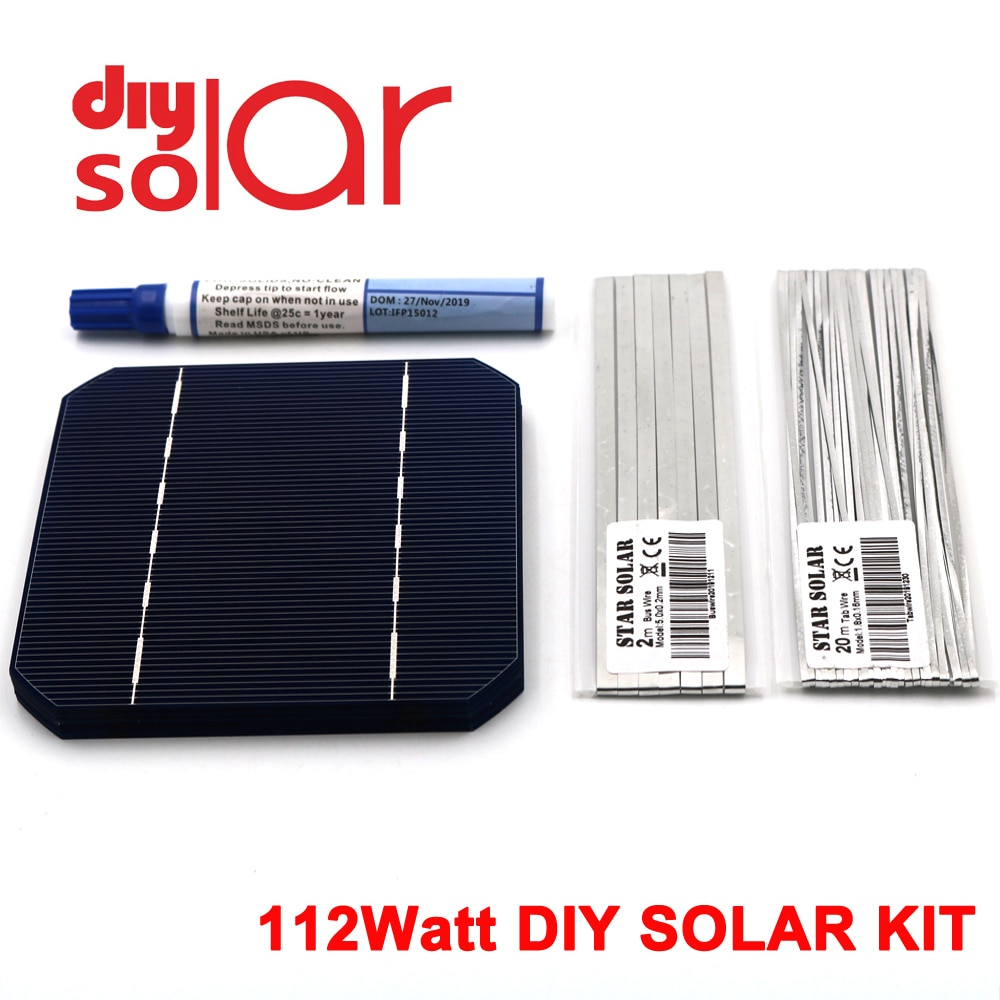 "112 vatios Kit de bricolaje Solar Panel 125X125mm Mono cristal célula Solar 100 W 5X5X5 ""100 W pestañas cable Buswire flujo pluma 100 vatios Flexible"