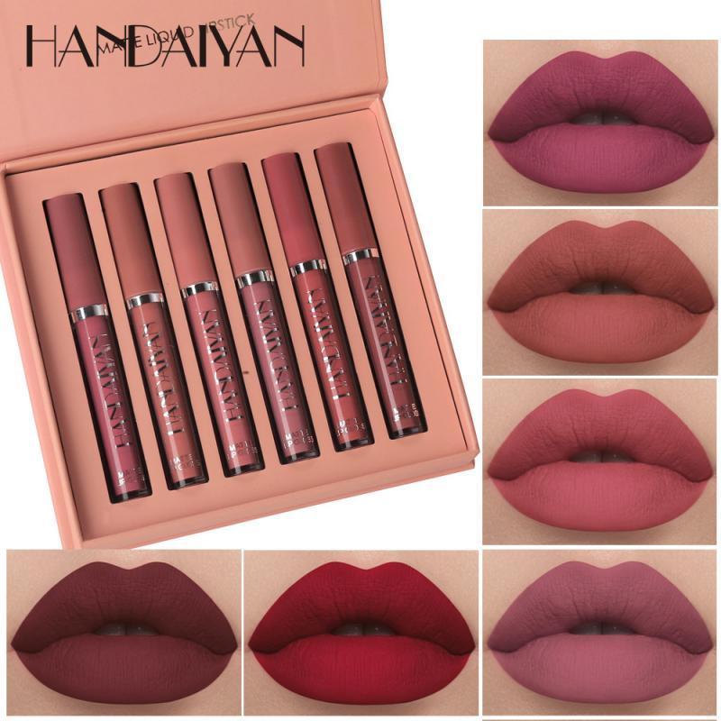 6 pçs/set batom fosco conjunto de longa duração hidratação lábio gloss líquido batom veludo vermelho sexy labial gloss feminino maquiagem tslm1