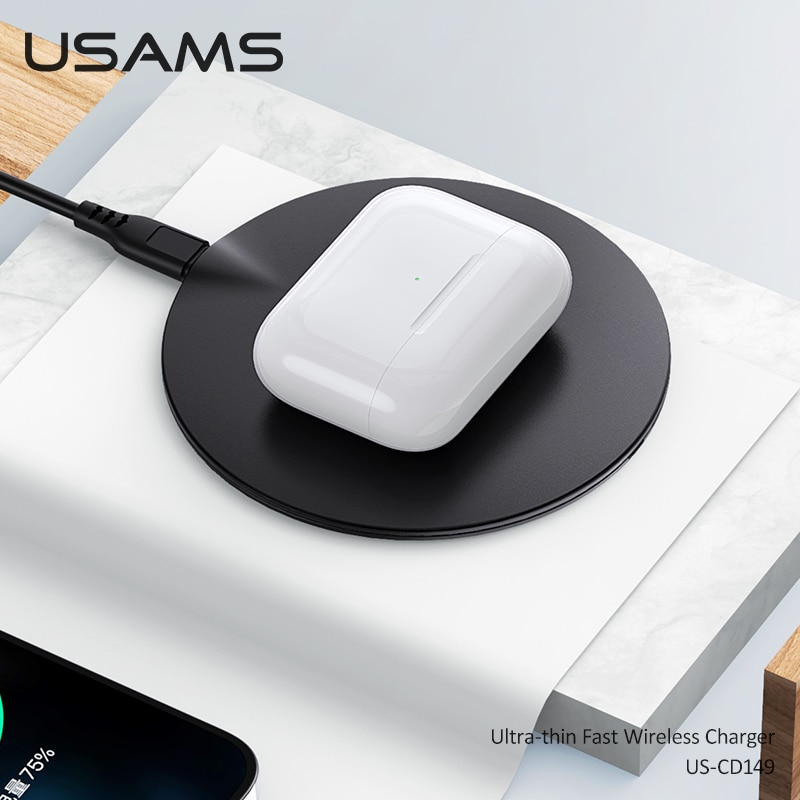 Купить с кэшбэком USAMS Light 15W Wireless Charger For iPhone 12 11 X 8 Series For Sangsung S10 S9 S8 S7 Series Fast Charging Ultra Thin Charger