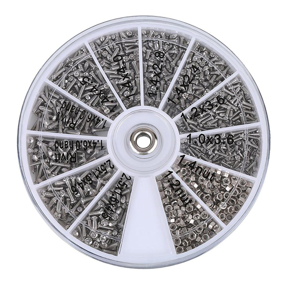 1000pcs Assorted Stainless Steel Glasses Screws Set with Round Plate For Glass Electric Products