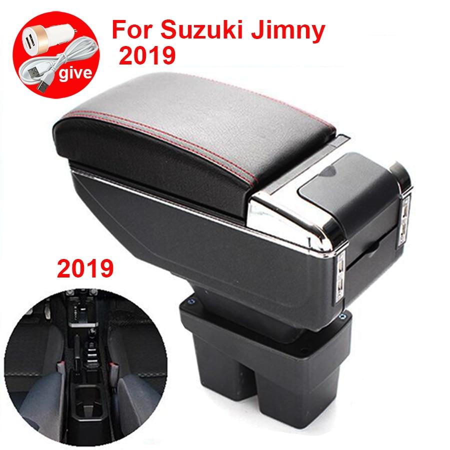 For Suzuki Jimny Armrest box 2019 Interior Parts special Retrofit parts 2019 Car Armrest Center Storage box with USB LED  light