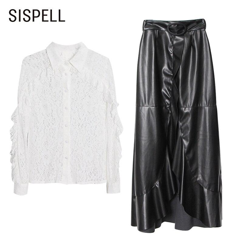 SISPELL مثير الدعاوى للإناث الدانتيل قطع طوق التلبيب كم طويل قميص مع ارتفاع الخصر طويل بولي Skirt تنورة المرأة مجموعة جديد 2021