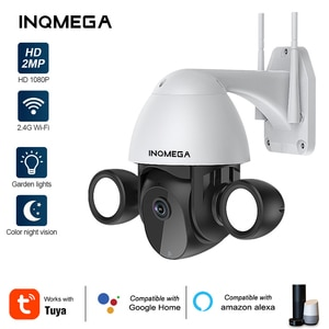 INQMEGA Tuya Smart life Floodlight Yardlight Security IP Camera 3MP Dual Lighting Two-Way Audio Support Google Home and Alexa