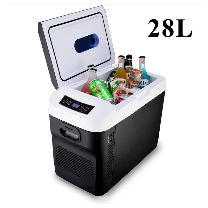 28L Car Home Auto Refrigerator Mini Fridges DC12/24V Freezer Cooler Heater Keep Warm Fresh for Car Home Pinic Camping AC110/220V