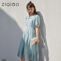 ziqiao office lady blue puff sleeve dress small fresh slim 2021 new gentle style a line high waist puff sleeve 150cm women dress