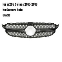 Coque de calandre pour Mercedes Benz classe C   Noire, pour W205 2015-2017 2018 AMG (sans caméra)