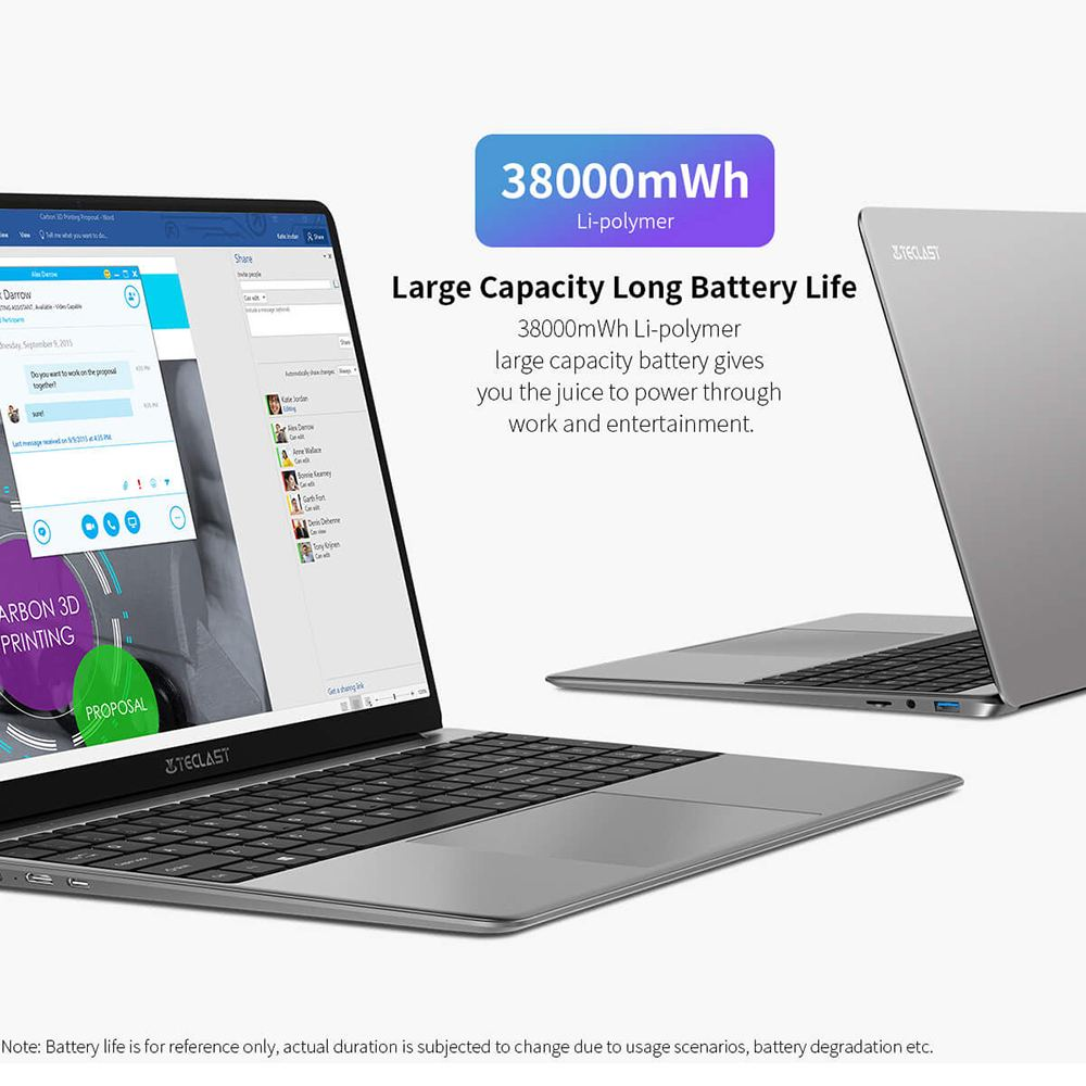 Teclast F15 Plus Laptop 15.6 inch Intel N4120 Notebook 8GB RAM 256GB SSD Dual-band Wi-Fi 2*USB3.0 Full-sized Keyboard Notebooks