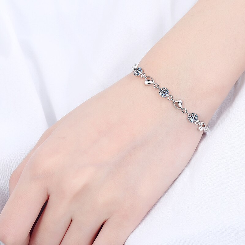 DIMINGKE Real 0.35CT 7 Moissanite Bracelets Passed Diamond Test 100% S925 Sterling Silver Jewelry Wedding Party Woman Gift