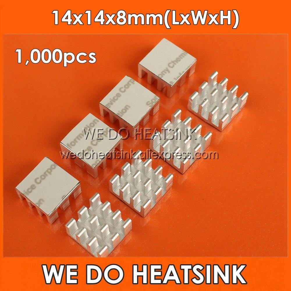 Disipador térmico de aluminio de 1.000 Uds 14x14x8mm con almohadillas de refrigeración térmicas de silicona