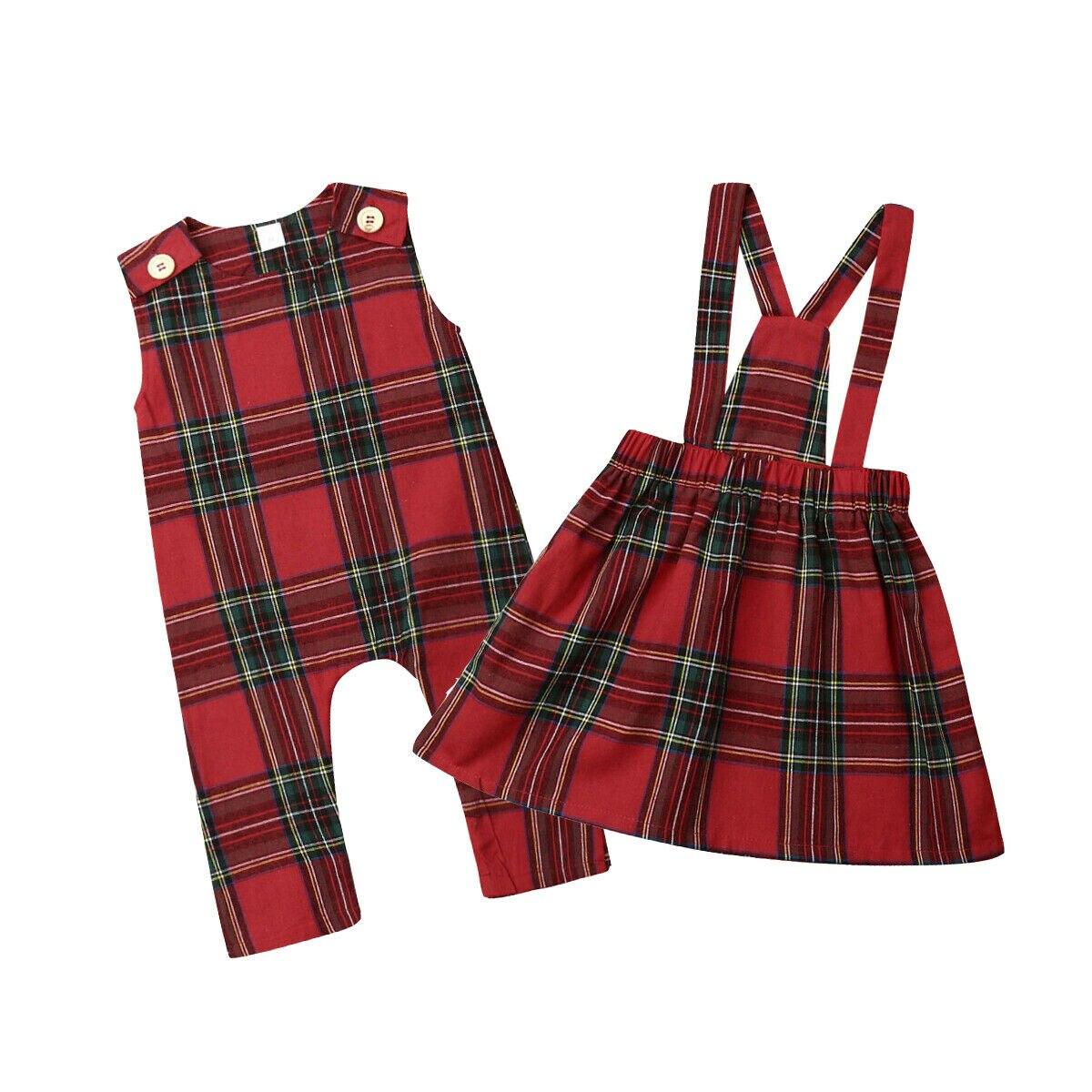 Ropa de verano Navidad hermana partido Navidad ropa sin mangas Romper Strap vestido bebé niña rojo a cuadros