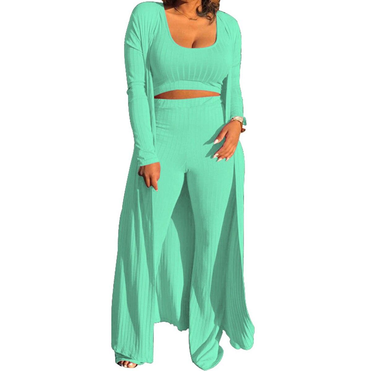 Recién llegado, conjunto de 3 piezas para mujer, de Color sólido camiseta sin mangas, pantalones y abrigo, conjunto para mujer, conjunto de ropa de punto, trajes de mujer