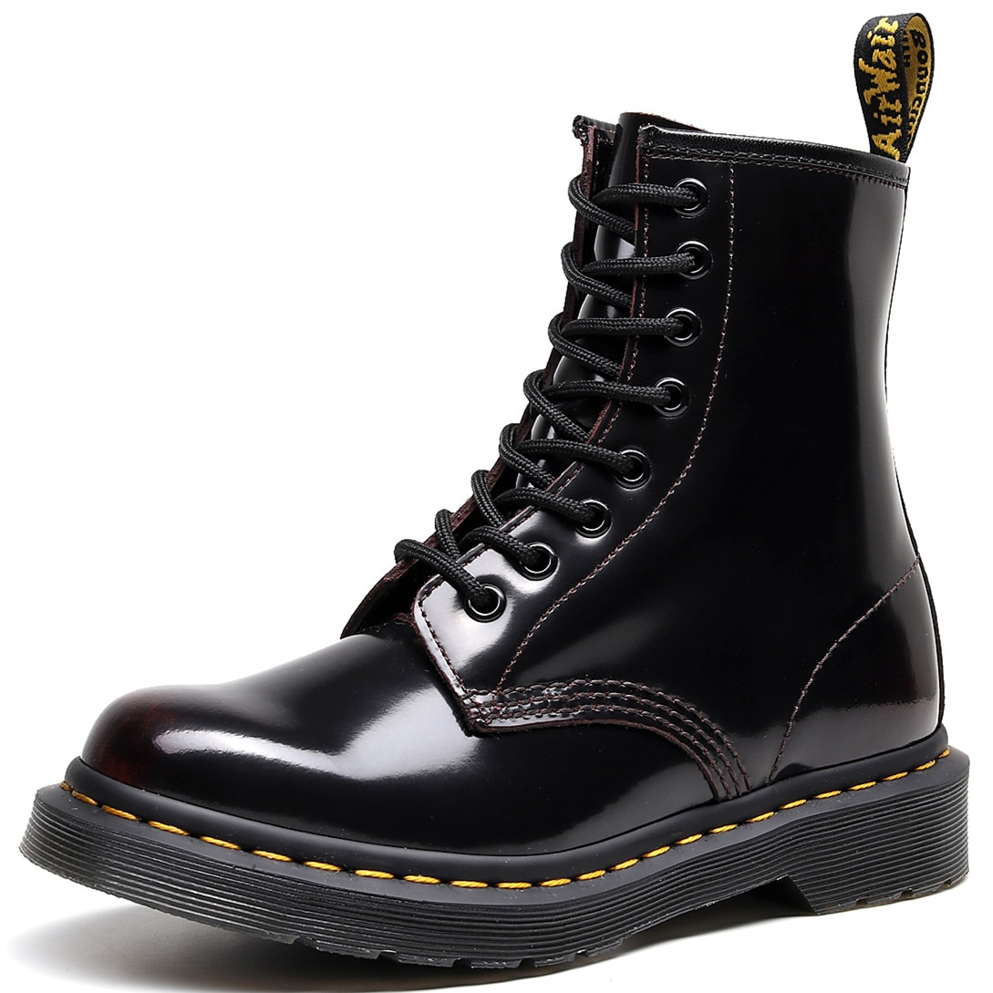 Martens Boots 8-hole Martin Boots Women Retro Lace-up Boots Men Women Ankle Boots Red
