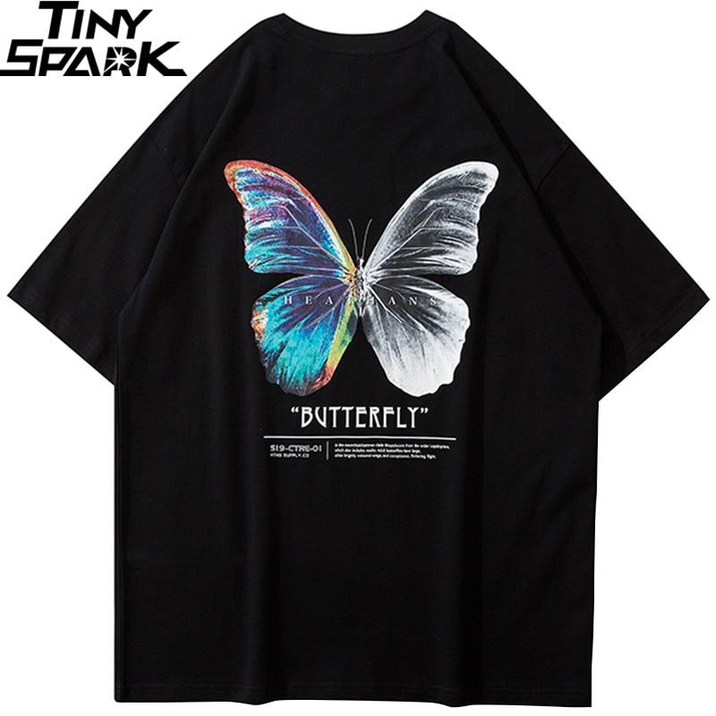 Футболка в стиле хип-хоп большого размера, Мужская Уличная футболка с бабочкой, хлопковая свободная футболка большого размера 2020
