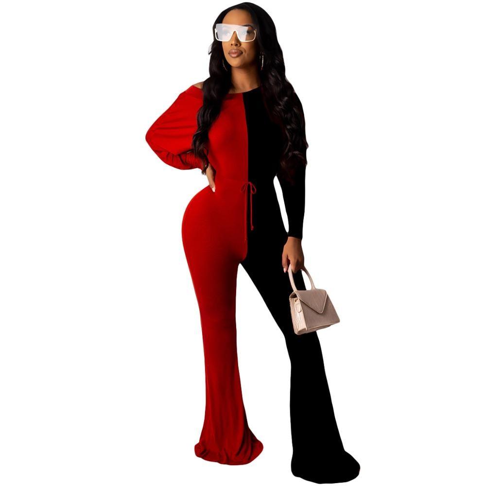 Pantalones de pernera ancha con diseño de bloque de Color y cuello redondo para mujer, pantalones holgados de rayas negras y rojas, pantalones elegantes de talle alto, monos largos con mangas cortas