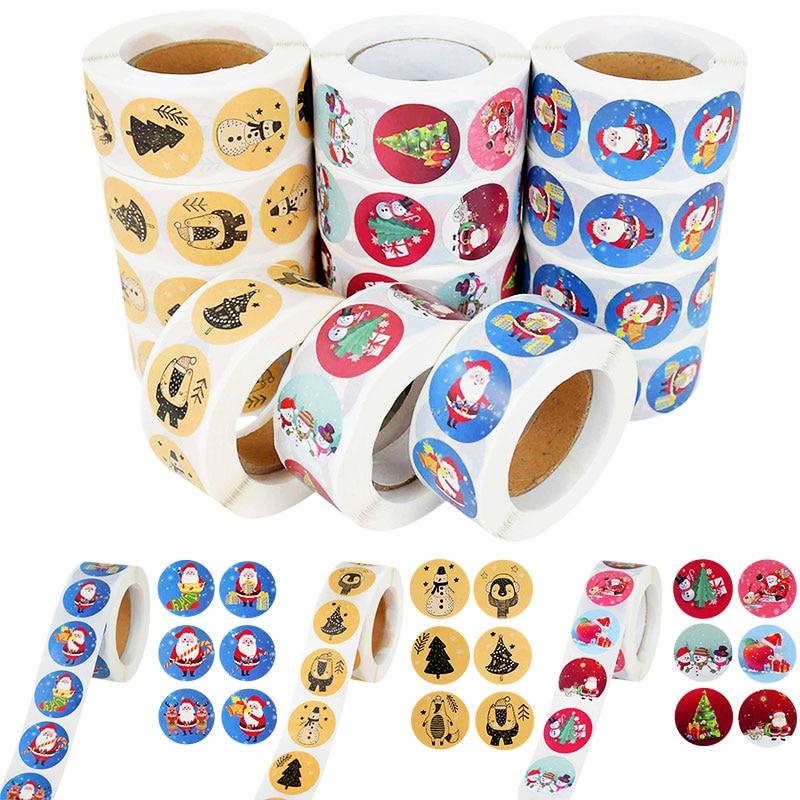 500pcs/roll Merry Chrismtas Gift Sticker Label Santa Claus Chrismtas Scrapbooking Candy Gift Sealing Sticker Christmas Decor