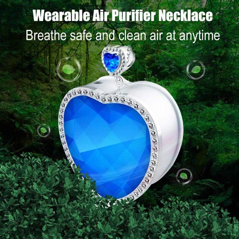 Heart of The Sea Air Purifier Heart Blue Crystal Portable Neck Anion Purifier K1AD