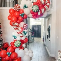 123pcs christmas cane lollipop balloon garland arch kit red latex balloons christmas decoration for home birthday party supplies