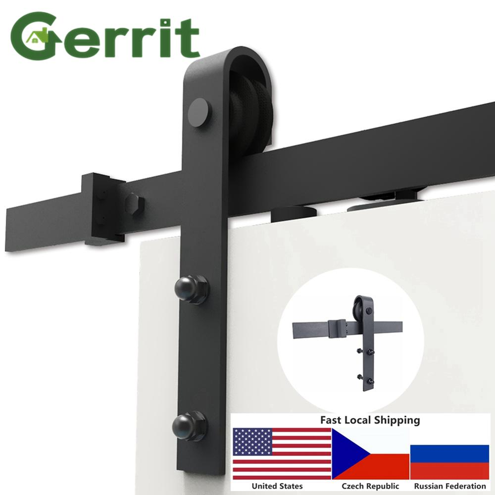 Local Warehouse 4.9FT/6FT/6.6FT/8FT Heavy Duty Sturdy Sliding Barn Door Hardware Kit Smoothly and Quietly Easy to Install
