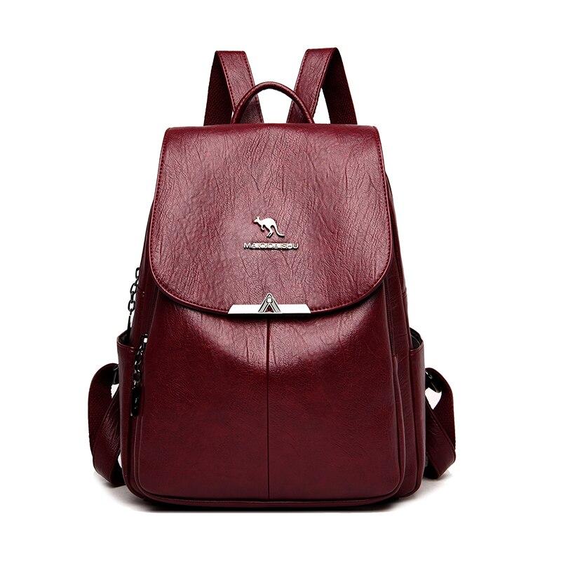 Высококачественные женские кожаные рюкзаки Sac A Dos, Дамский винтажный рюкзак для девушек в консервативном стиле, Однотонный женский дизайне...