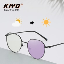 KIYO Brand 2020 New Women Men Round Anti-Blue Light Photochromic Sunglasses Metal Fashion Sun Glasse