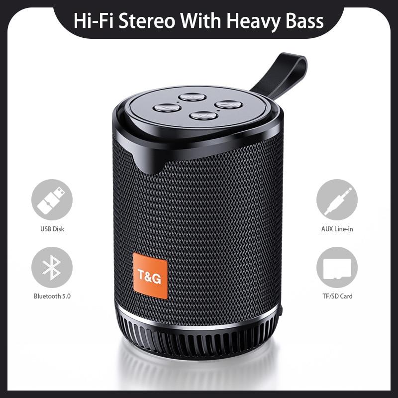 Minialtavoz con Bluetooth portátil, inalámbrico, Radio FM, Boombox, TF, AUX, USB, Subwoofer,...