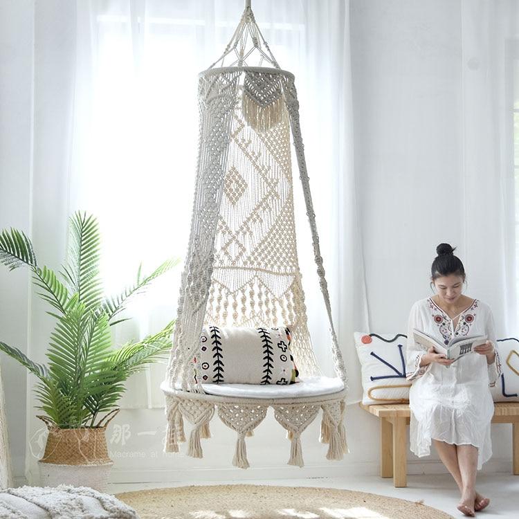 Подвесное кресло-качели, корзина, подвесное кресло ручной работы, балконное кресло-качели, поддержка садовой мебели для дома, вес 200 кг